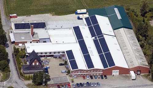Otto Keller donsdekenfabriek in Altenberge vanuit de lucht gefotografeerd