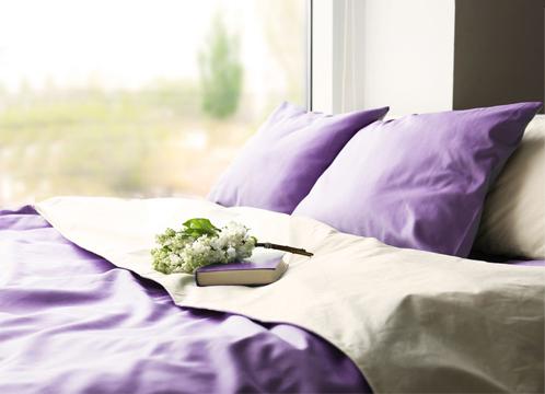 net, opgemaakt bed met paarse lakens en kussens onder een raam met uitzicht op groene weide