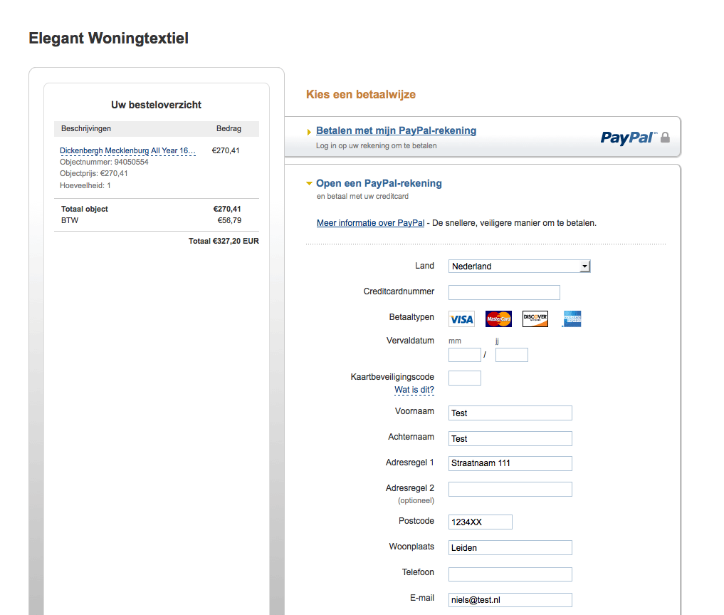 Screen-capture van PayPal betaalomgeving